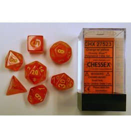 Chessex CHX27523 7 Set Ghostly Glow Orange with Yellow