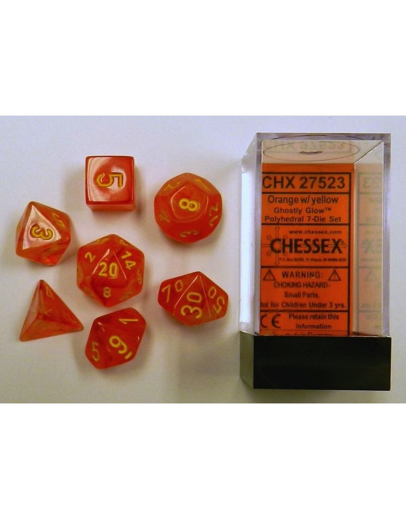 Chessex CHX27523 7 Set Ghostly Glow Orange with Yellow