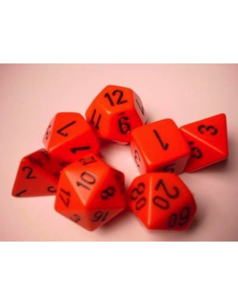 Chessex CHX25403 7 Set Opaque Orange with Black