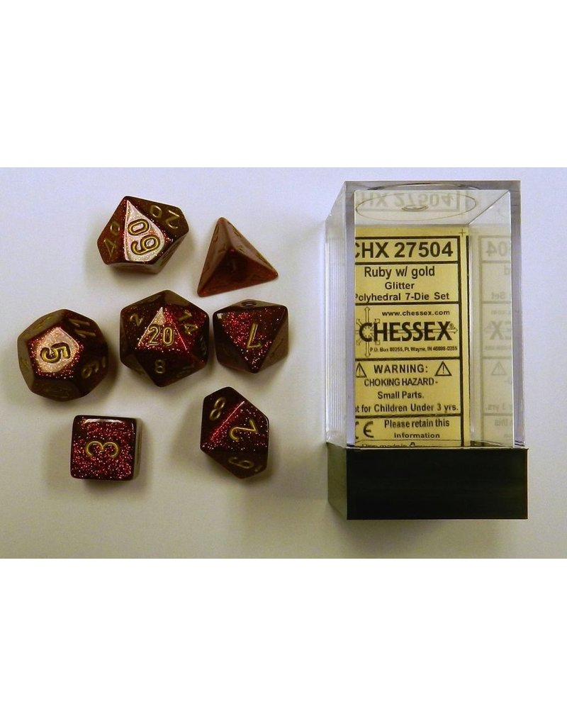 Chessex CHX27504 7 set Glitter Ruby with Gold