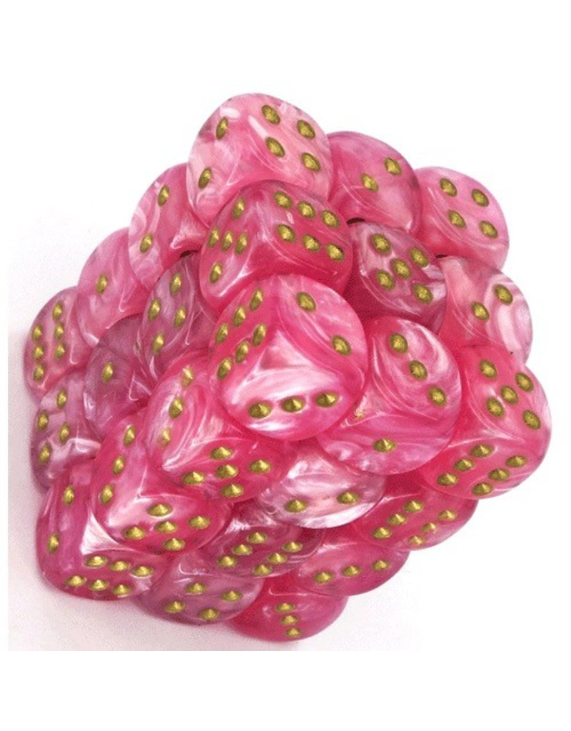 Chessex CHXLE765 12mm d6 Easter Pink with Gold