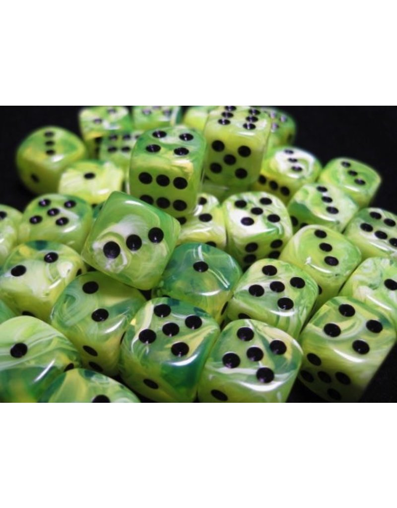 Chessex CHX27830 12mm d6 Vortex Bright Green with Black