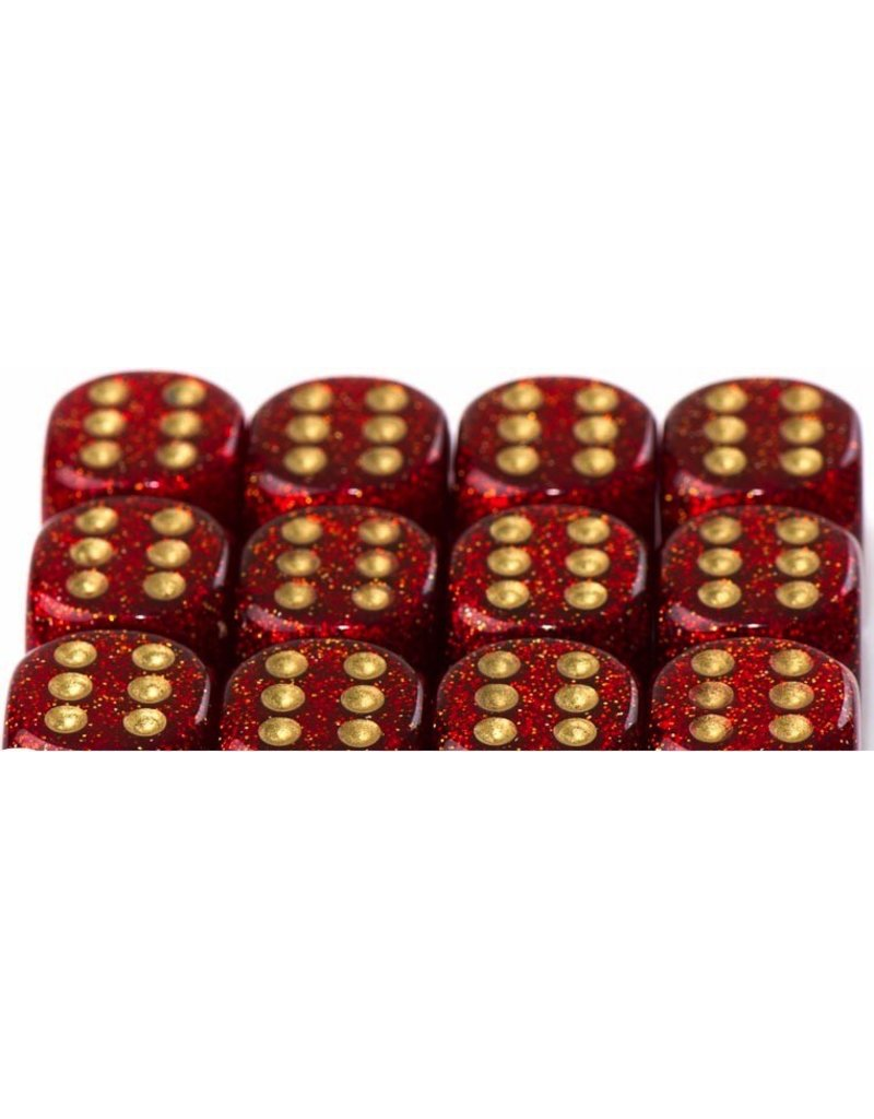 Chessex CHX27904 12mm d6 Glitter Ruby with Gold