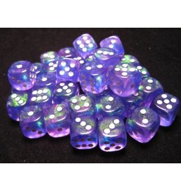 Chessex CHX27807 12mm d6 Borealis Purple with White