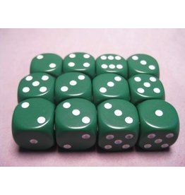 Chessex CHX25605 16mm d6 Opaque Green with White