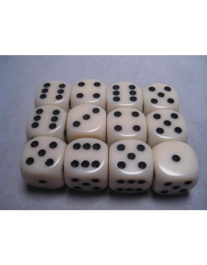 Chessex CHX25600 16mm d6 Opaque Ivory with Black