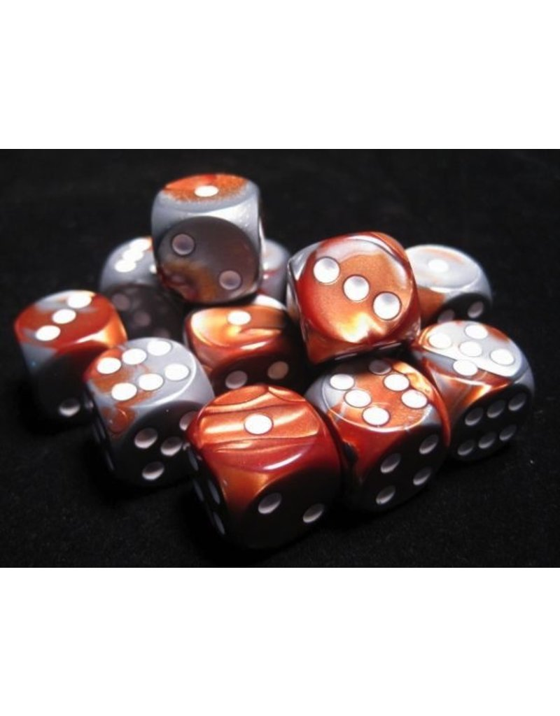 Chessex CHX26624 16mm d6 Gemini Copper-Steel with White