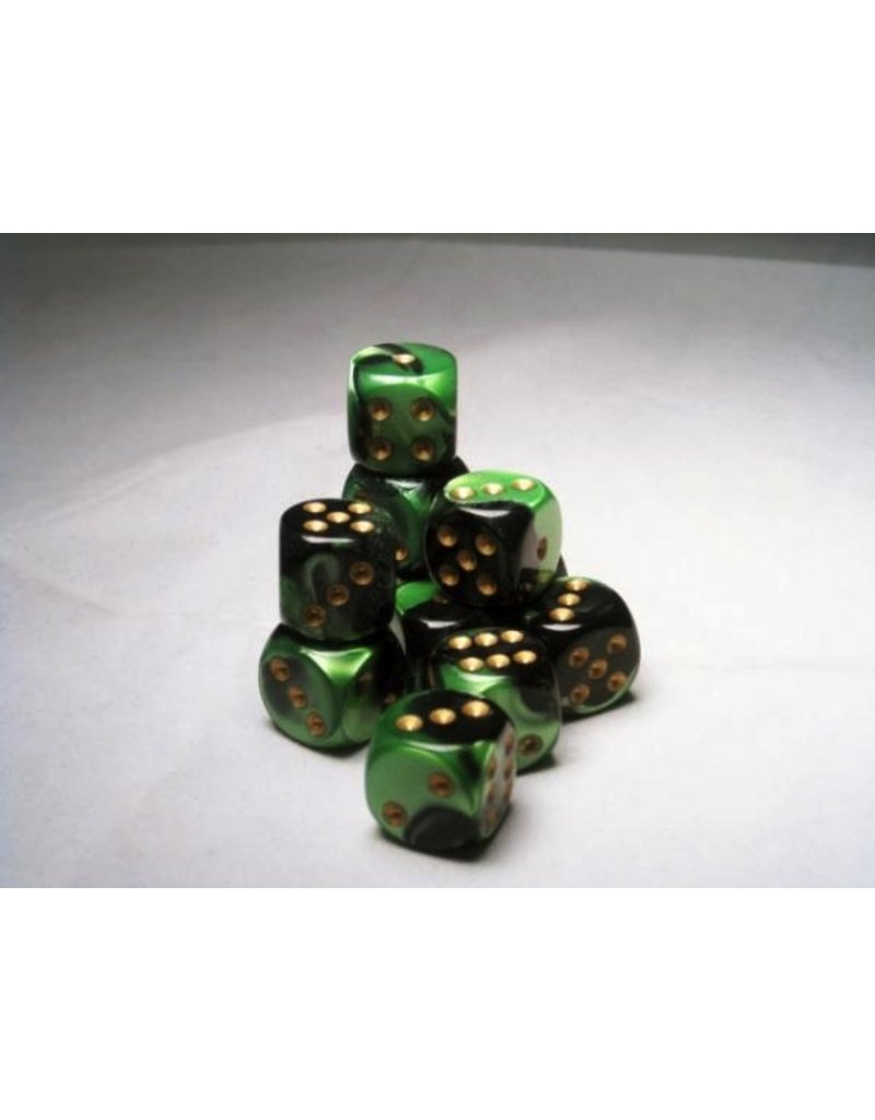 Chessex CHX26639 16mm d6 Gemini Black-Green with Gold
