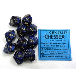 Chessex CHX27227 d10 Scarab Royal Blue with Gold