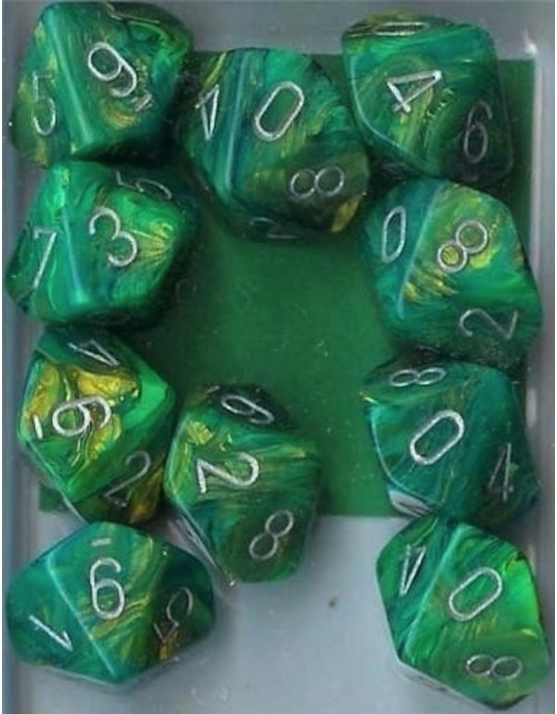 Chessex CHX27295 d10 Lustrous Green with Silver