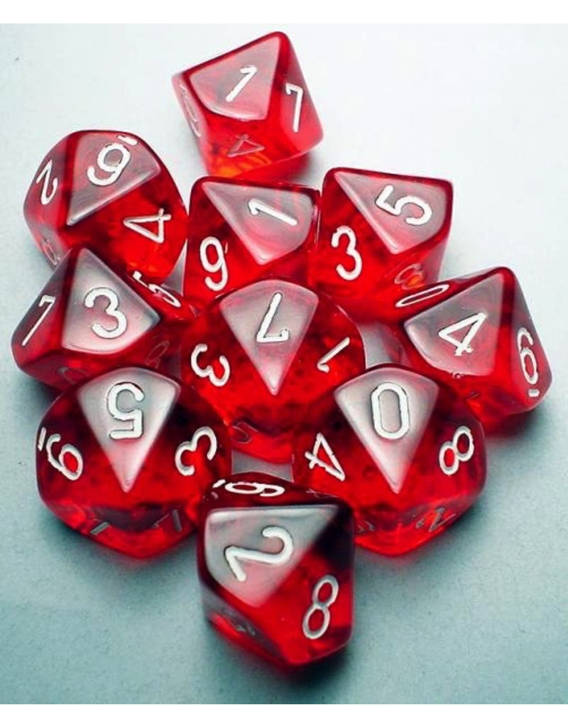 Chessex CHX23204 d10 Translucent Red with White