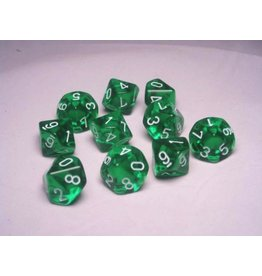 Chessex CHX23205 d10 Translucent Green with White