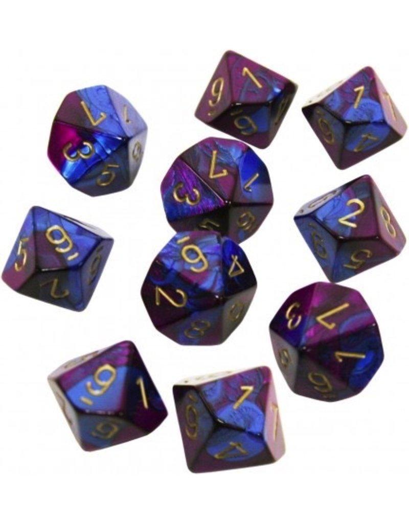 Chessex CHX26228 Gemini Blue Purple with Gold Set of Ten D10 Dice