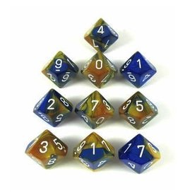 Chessex CHX26222 d10 Gemini Blue-Gold with White