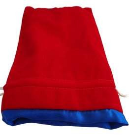 "Metallic Dice Games Red Velvet Dice Bag with Blue Satin Lining (6""x8"")"