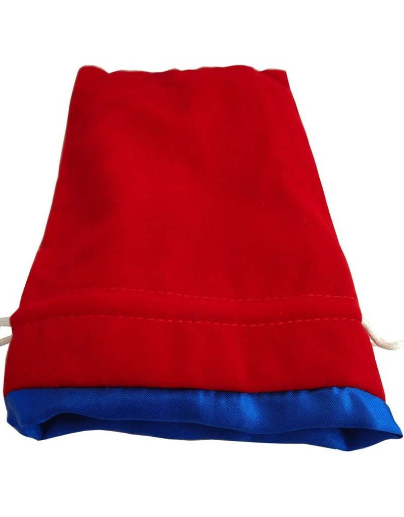 "Metallic Dice Games Red Velvet Dice Bag with Blue Satin Lining (6""x8"")"