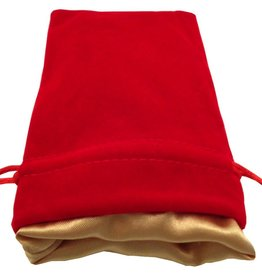 "Metallic Dice Games Red Velvet Dice Bag with Gold Satin Lining (4""x6"")"