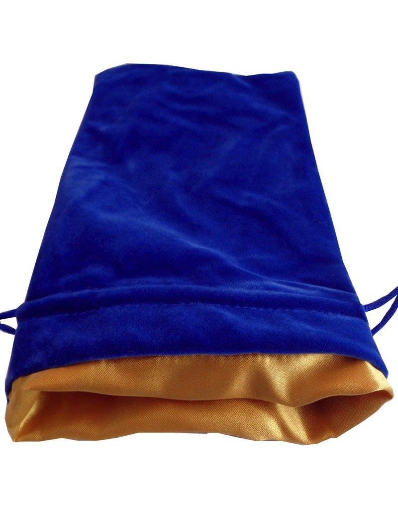 "Metallic Dice Games Blue Velvet Dice Bag with Gold Satin Lining (6""x8"")"