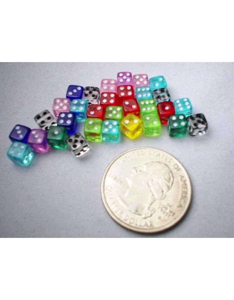 Koplow Miniature Dice: Assorted Translucent 5mm d6 (~30)