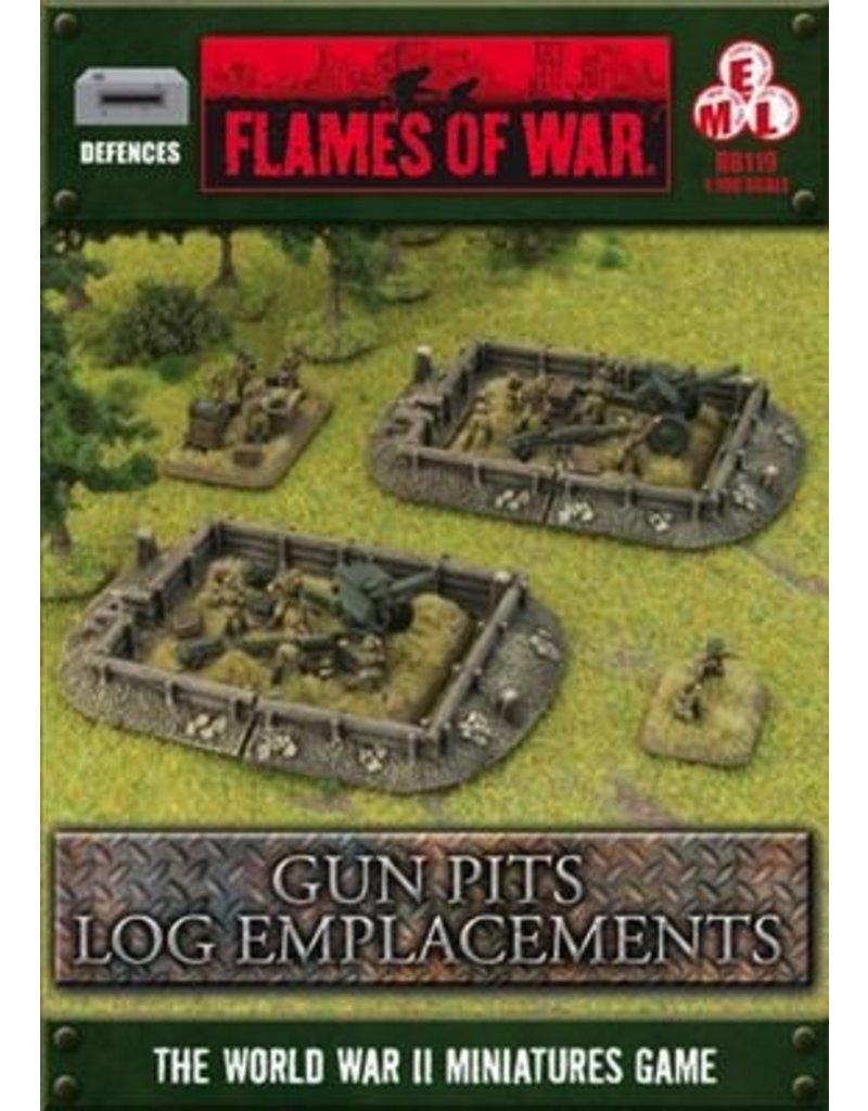 Flames of War BB119 Gun Pit Markers Log Emplacement