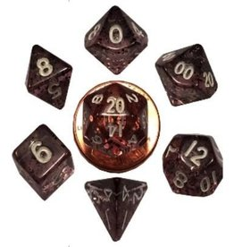 Metallic Dice Games 7 Set Mini(10mm) Ethereal Black with White