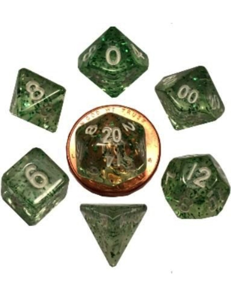 Metallic Dice Games 7 Set Mini(10mm) Ethereal Green with White