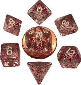 Metallic Dice Games 7 Set Mini(10mm) Ethereal Light Purple with White