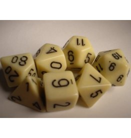 Chessex CHX25400 7 Set Opaque Ivory with Black