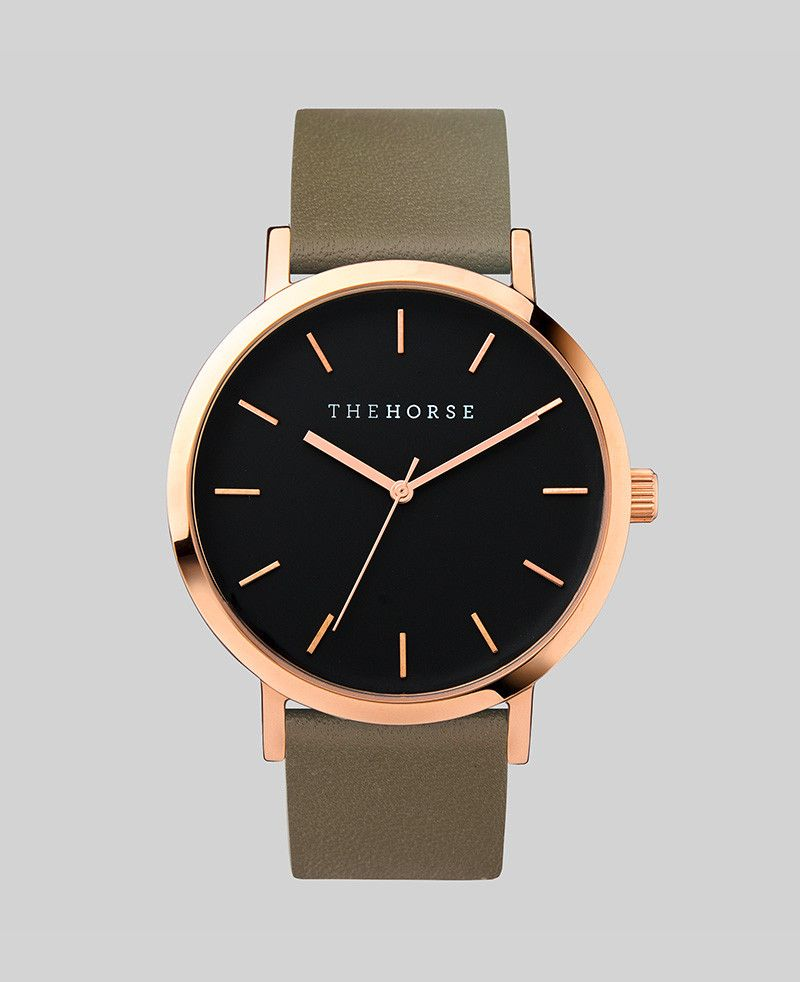 The Horse THE HORSE | WATCH | ROSE GOLD CASE/BLACK DIAL/OLIVE BAND