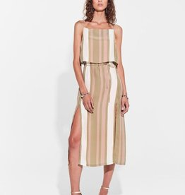 Sir the Label SIR | AGGIE HIGH NECK MIDI DRESS | OLIVE/BLUSH STRIPE
