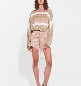 Sir the Label SIR | AGGIE LONG SLEEVE WRAP TOP | OLIVE/BLUSH STRIPE