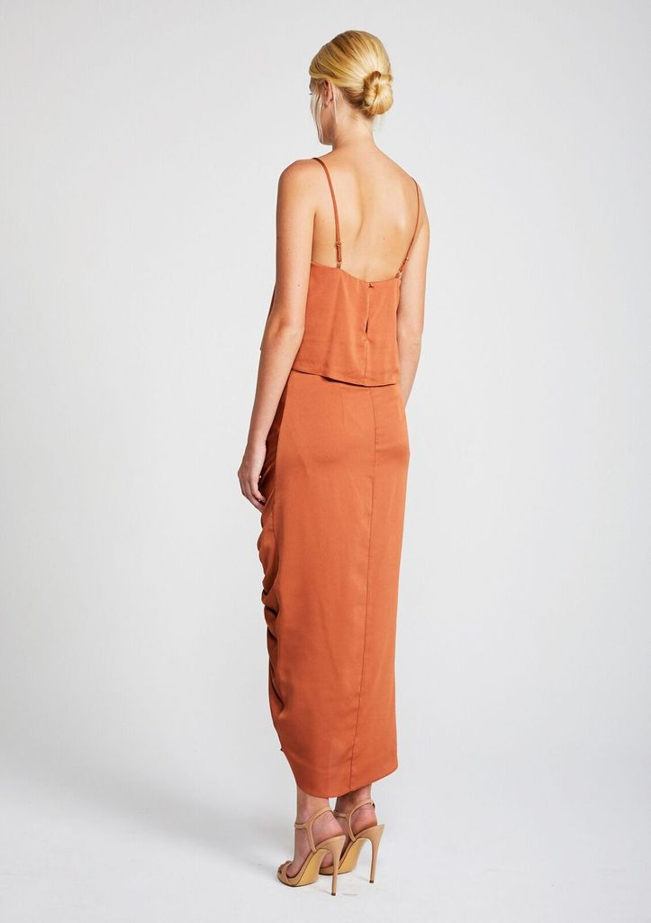 Shona Joy SHONA JOY | SOLAR | RUCHED MIDI SKIRT | COPPER