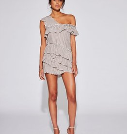 Sir the Label SIR | EMELIE RUFFLE MINI DRESS | IVORY MINI PRINT