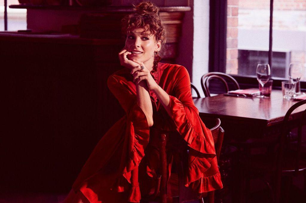 Shona Joy SHONA JOY | ANNA | TULIP SLEEVE D.STRING MINI DRESS | BURNT RED