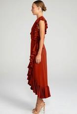 Shona Joy SHONA JOY   LUXE   RUFFLE WRAP MIDI DRESS   BURNT RED