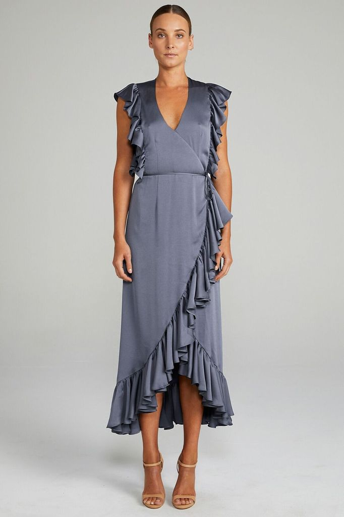Shona Joy SHONA JOY | LUXE | RUFFLE WRAP MIDI DRESS | CHARCOAL