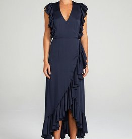 Shona Joy SHONA JOY | LUXE | RUFFLE WRAP MIDI DRESS | NAVY