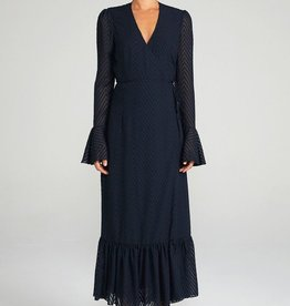 Shona Joy SHONA JOY | JEAN | FRILL CUFF WRAP MIDI DRESS | NAVY