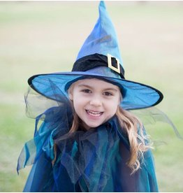 Great Pretenders Great Pretenders Witch Cape with Hat, Blue, 5-6