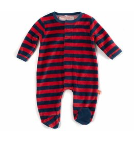 Magnetic Me Magnetic Me - Red/Navy Stripe Velour Footie