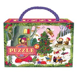 Eeboo eeBoo Christmas in the Woods 20 Pc Glitter Puzzle