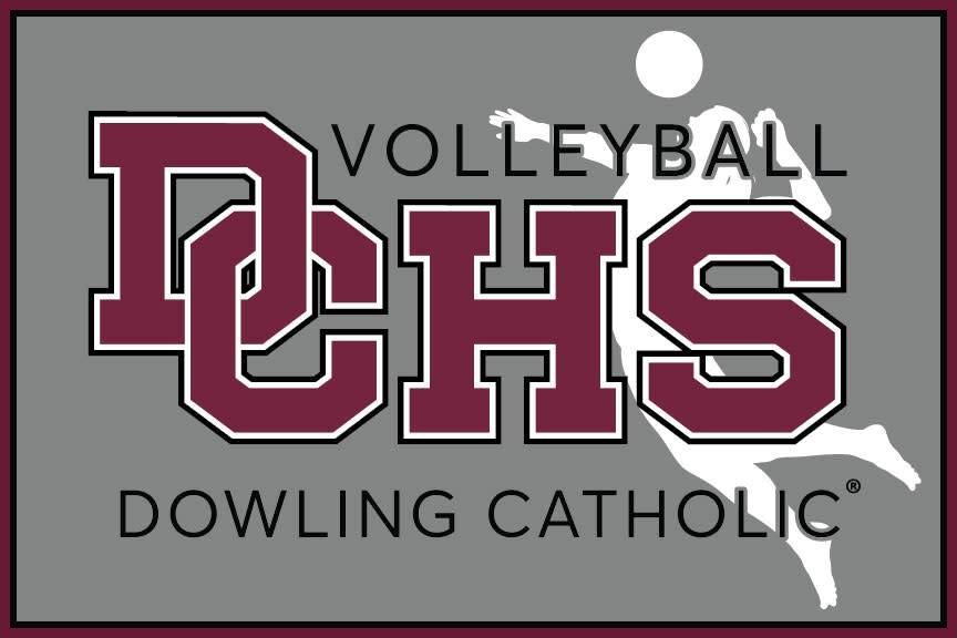 Dowling Catholic Car Decal Volleyball