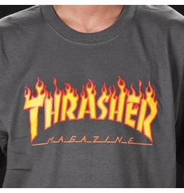 THRASHER THRASHER FLAME LOGO T-SHIRT GREY