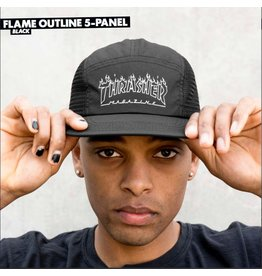 THRASHER THRASHER MAGAZINE FLAME OUTLINE 5 PANEL BLACK