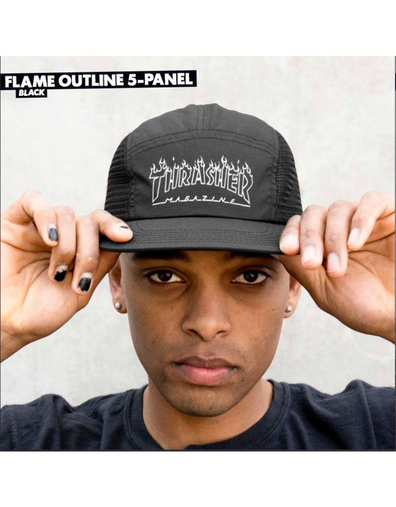 THRASHER THRASHER MAGAZINE FLAME OUTLINE 5 PANEL BLACK