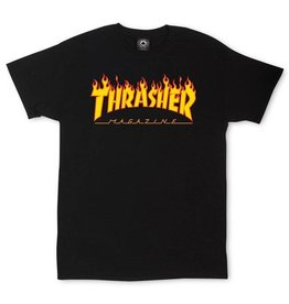 THRASHER THRASHER FLAME LOGO T-SHIRT BLACK
