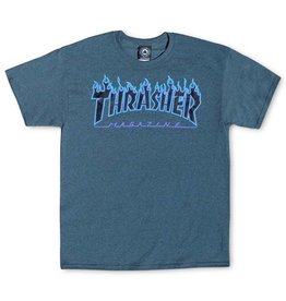 THRASHER THRASHER FLAME LOGO T-SHIRT PURPLE / DARK HEATHER