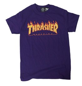 THRASHER THRASHER FLAME LOGO T-SHIRT PURPLE / FLAME