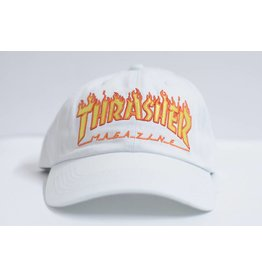 THRASHER THRASHER FLAME LOGO DAD HAT WHITE