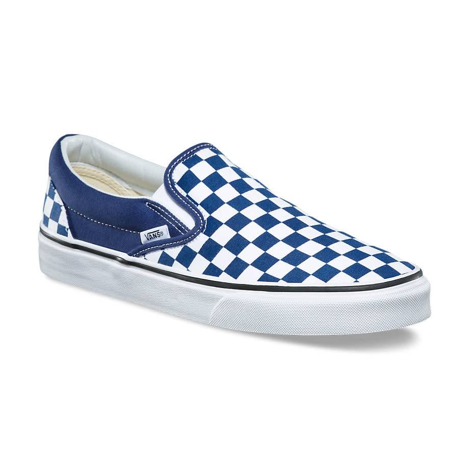 vans slip ons checkerboard blue